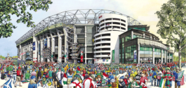 Digital photography is the best way of capturing larger artworks ready to be set up for giclee printingTwickenham Stadium, illustrated by Dave Hankin