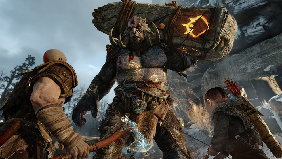 Kratos and Atreus faces a mighty ogre in God Of War