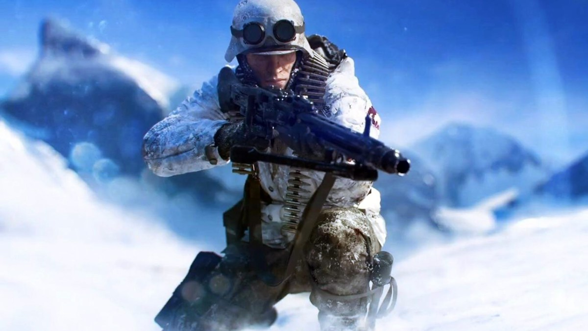 A snow covered soldier aims his rifle.