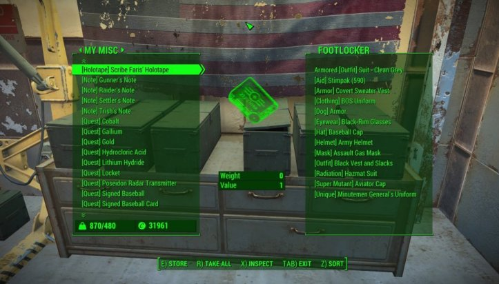 The player navigates a menu of notes and tapes in Fallout 76