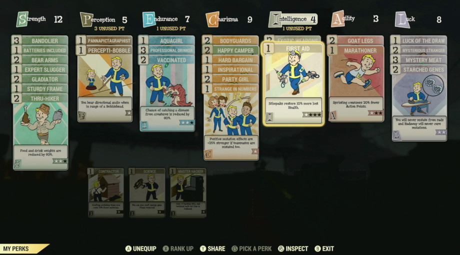 A list of perk cards you can use it Fallout 76.