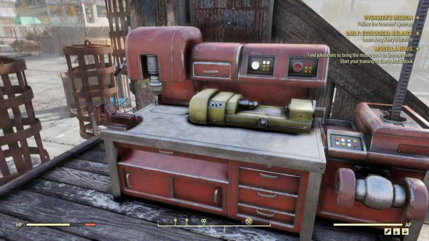 A red workbench that can be used for crafting