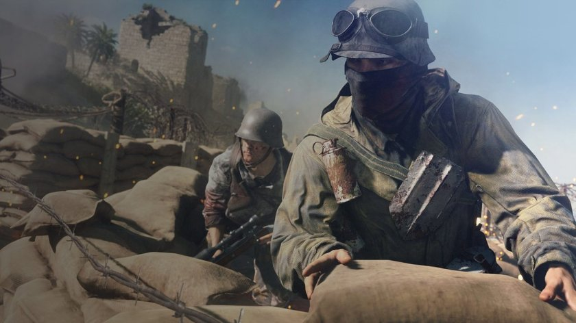 Soldiers pile up sand bag ins Battlefield V
