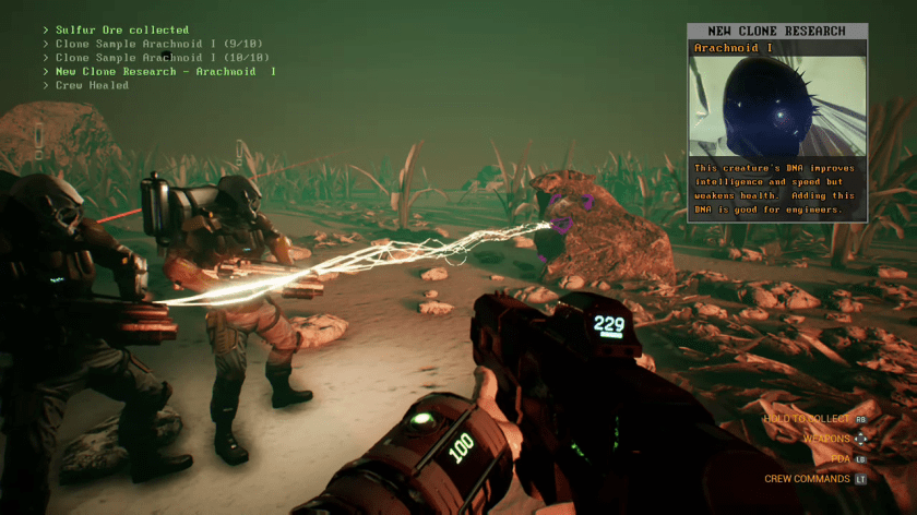 The player guard the crew while they harvest resources planet side.