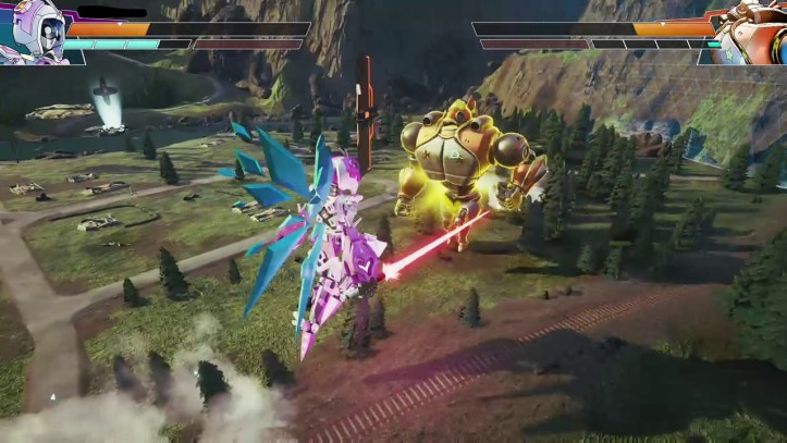 A fairy mech charges at a sumo wrestler mech with a laser sword in Override.