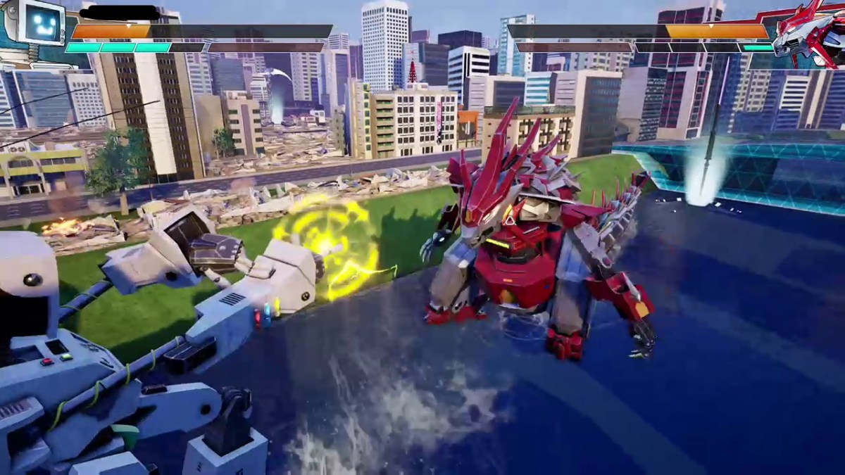 A giant vintage robot blasts a mech dinosaur in the face in Override.