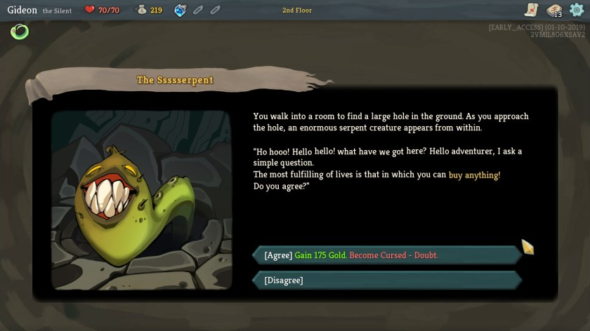 Slay The Spire Event Screen.