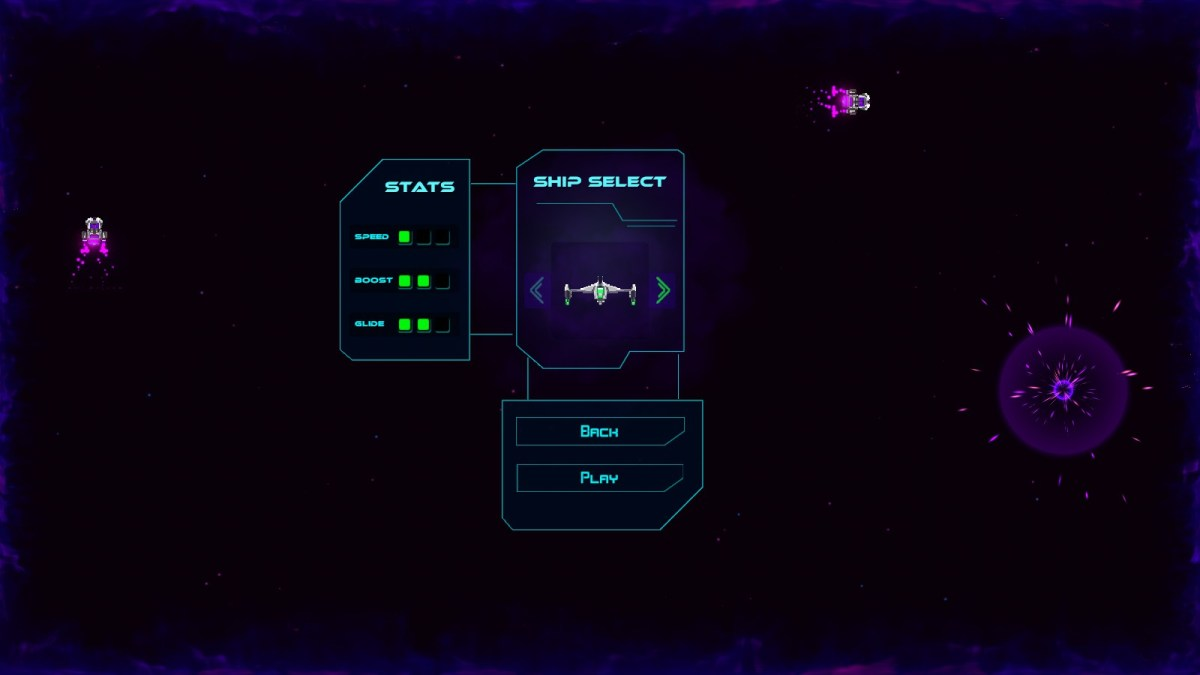 Warp Glider ship select screen