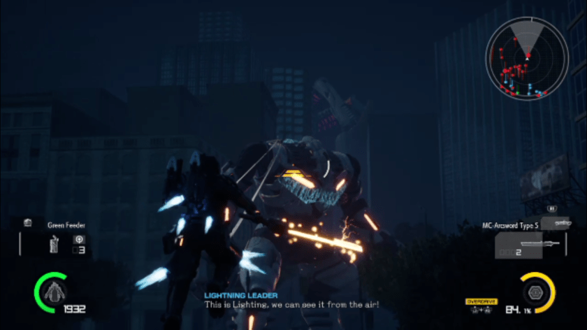 Earth Defense Force: The prowl rider uses its grapple to swing toward a giant mech.
