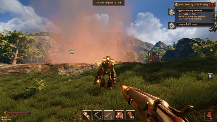 The player aims a gun at a mechanical soldier in Volcanoids.