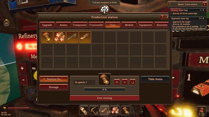 Volcanoids inventory screen.