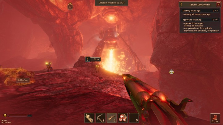 The player explores a volcano in Volcanoids.