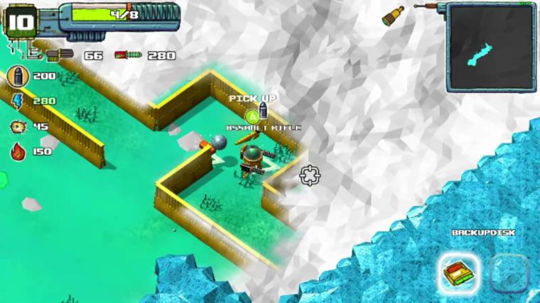 Moss Destruction. Twin Stick Shooter Steam. Maze level.