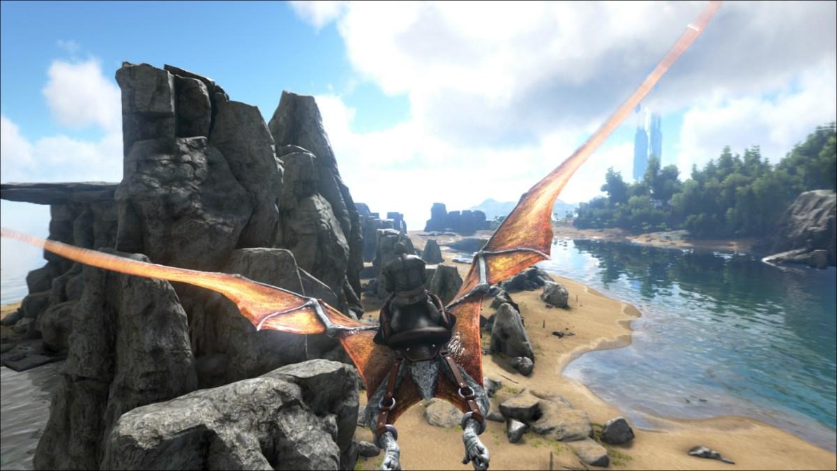 Ark Survival Evolved a player rides a Pteradon