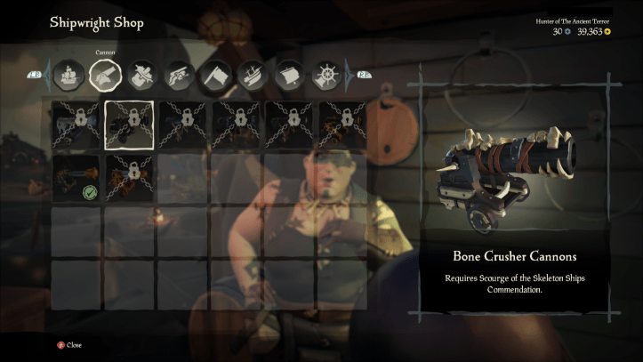 Sea of thieves cannon cosmetics screens