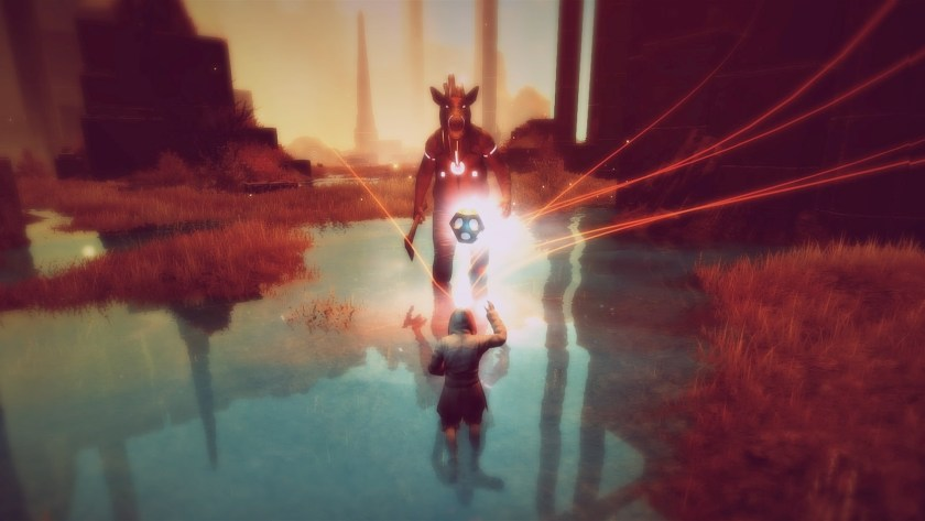 The player uses telekinetics to throw a spere at a pig-headed enemy.