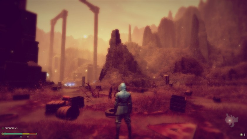 A player stands in the middle of a hazy dreamscape in Waking.