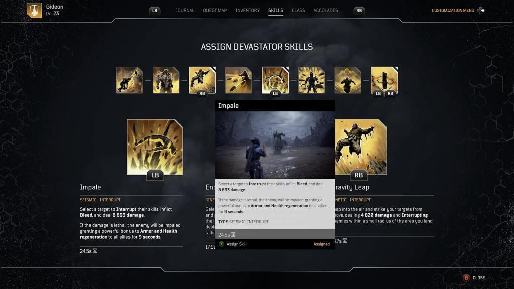 A Devastators skill screen in Outriders.