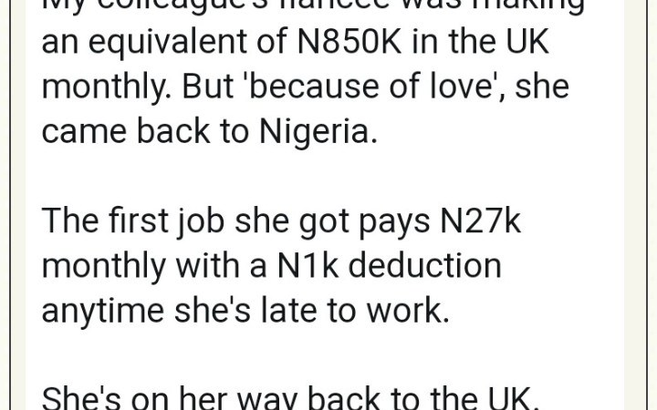 Lady Who Left Her N850k Job In UK To Be With Her Boyfriend In Nigeria Plans To