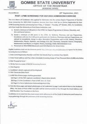 GOMSU Post-UTME/DE 2021: cut-off mark, eligibility and registration details
