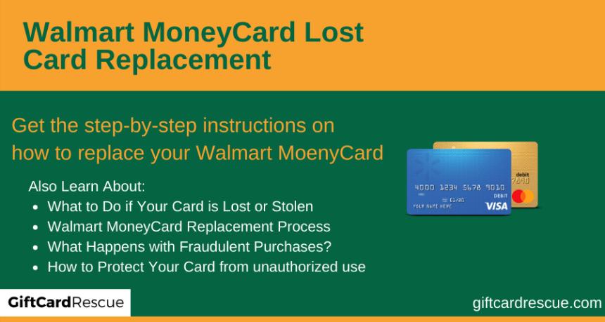 """Walmart MoneyCard Lost Card Replacement"""