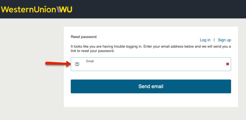 """Western Union Online Account Forgot Password - 1"""