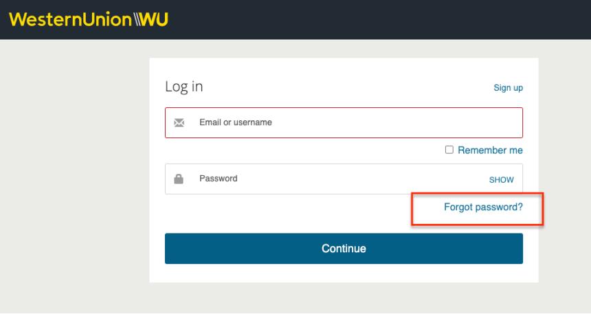 """Western Union Online Account Forgot Password"""