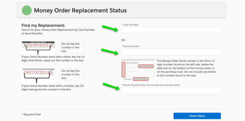 """Track MoneyGram money order replacement request"""