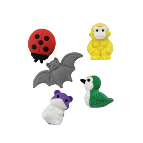 Setul contine 4 piese sub forma de buburuza, liliac, maimuta si rata.