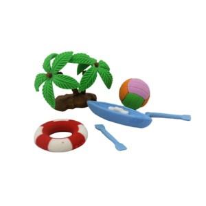 Setul contine 4 piese sub forma de palmier, colac, minge volei si caiac cu vasle.