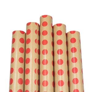 Set 5 bucati hartie ambalat cadouri Kraft Vintage Red Dots