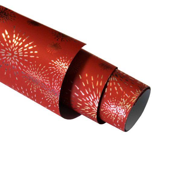 Hartie ambalat Craciun 150x70cm artificii rosu