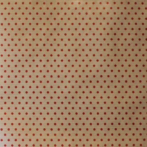 Hartie pentru ambalat cadouri Kraft Vintage 200x70 cm buline rosii