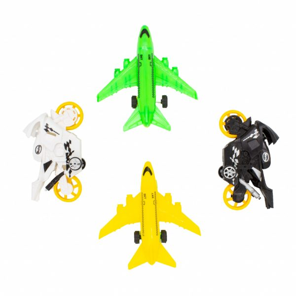 Set vehicule motociclete si avioane jucarie 4 buc V3
