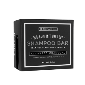 beekman shampoo bar activated charcoal shampoo bar men's beauty products men's gift guide goat's milk menthol essential oils father's day gifts