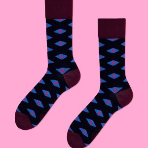 These socks are stylish and classic with beautiful colors that complement each other well - the perfect gift for a trendy bloke you're celebrating, or for your brother's birthday. plum diamonds socks dress socks dress shoes stockings gifts for him father's day gifts