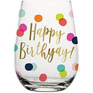 Happy Birthday wine lover wino wine glass glassware partyware barware gift gifting ideas gold-foil