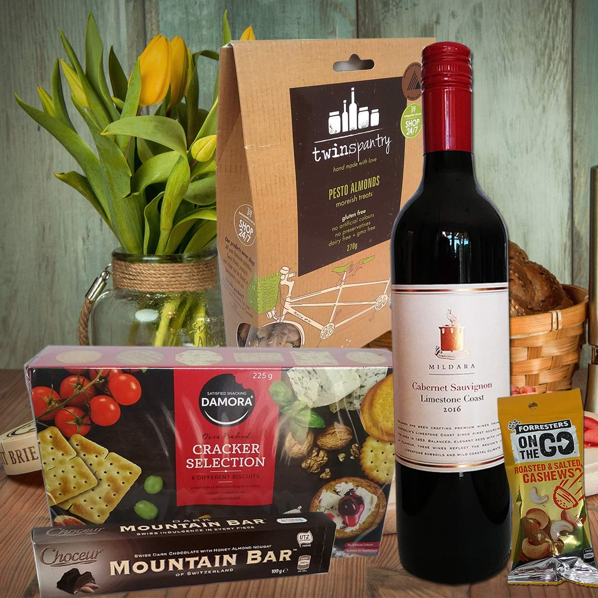 Gift For Men Mixed Food Nuts Cracker Biscuits And Wine Box Hamper