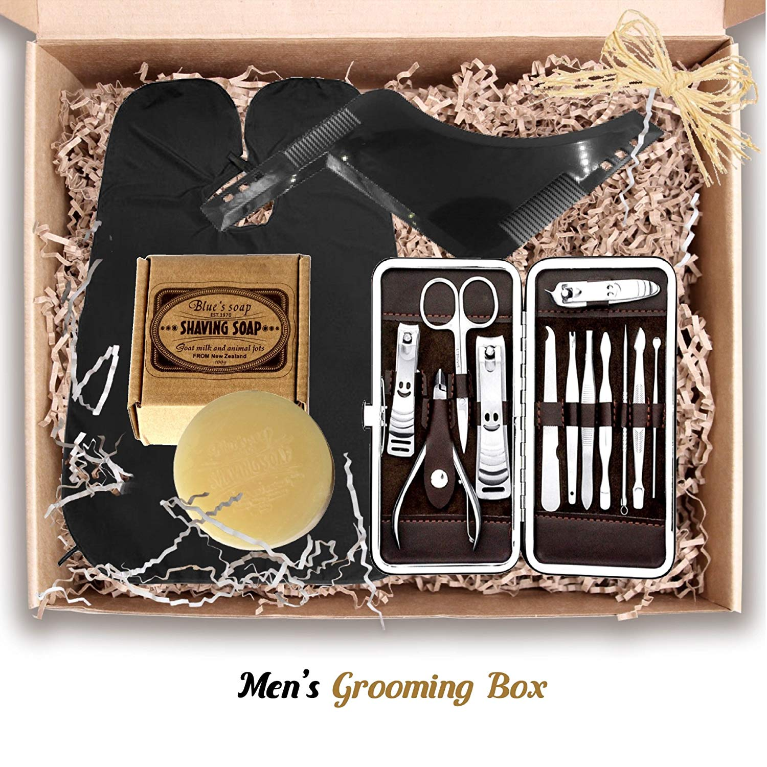 Shaving Gift Box Hamper for Men: Stainless Steel Manicure Set, Goats Milk  Soap, Beard Comb, Hair & Beard Trim Clean Up Apron