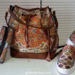 Carpet patterned bag shoes wallet sets
