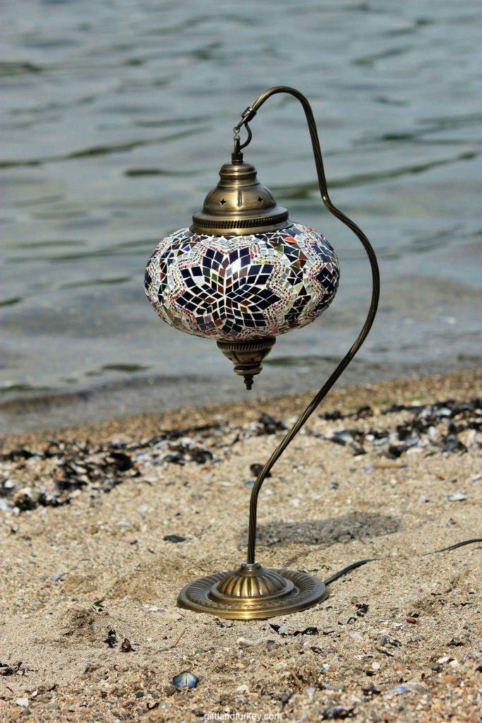 BOSPHORUS Stunning Handmade Swan Neck Turkish Moroccan Mosaic Glass Table Desk Bedside Lamp Light with Bronze Base