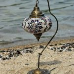 BOSPHORUS Stunning Handmade Swan Neck Turkish Moroccan Mosaic Glass Table Desk Bedside Lamp Light with Bronze Base
