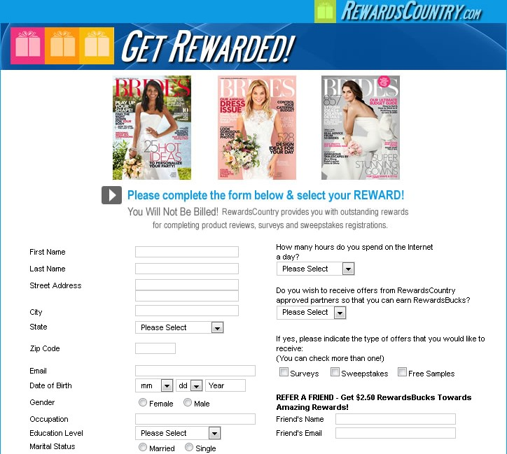 Free Brides Magazine at Rewards Country USA Form