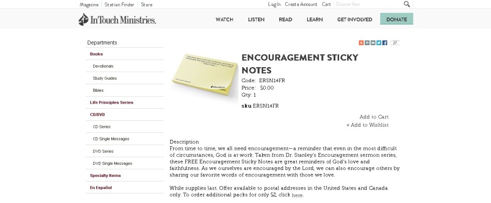 Free Encouragement Sticky Notes at Intouch USA1