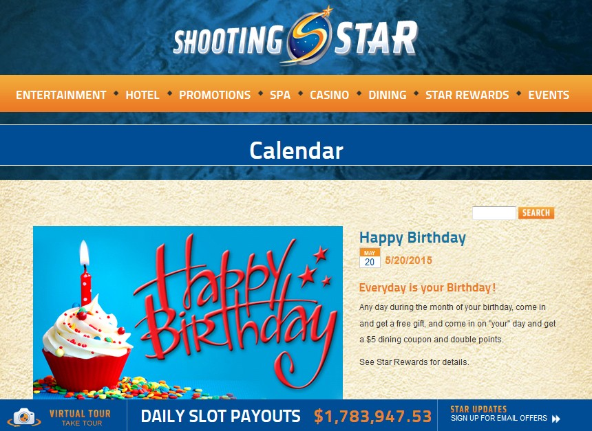 Free Gift on your Birthday at Star Casino USA