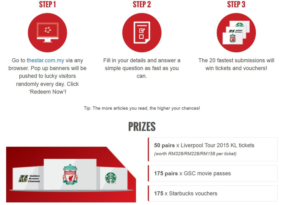 50 pairs x Liverpool Tour 2015 KL tickets and more to be won at The Star Malaysia1