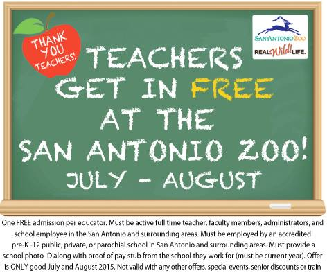 Free Entry to San Antonio Zoo for Teachers