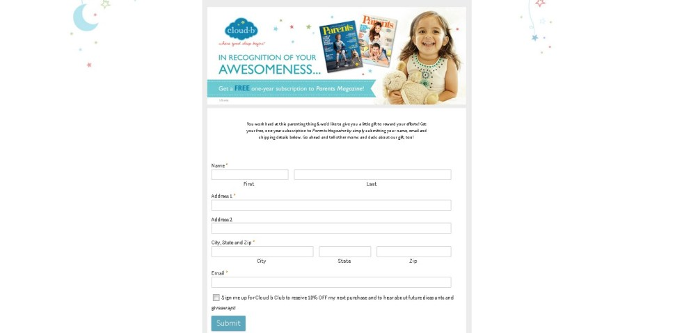 Free One Year Subscription to Parents Magazine at Cloudb USA1