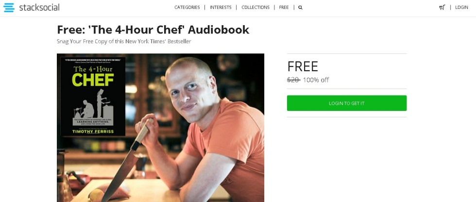 Free 'The 4-Hour Chef' Audiobook at Stacksocial1