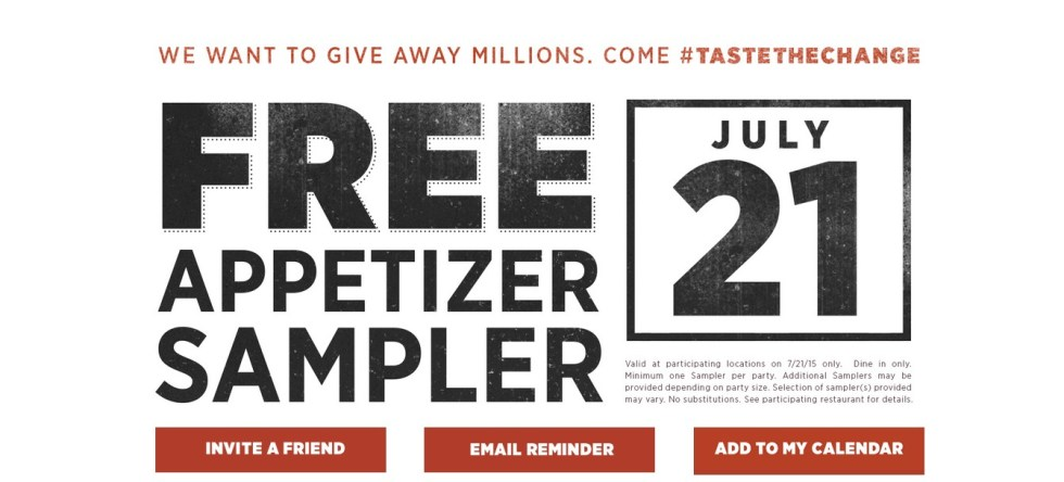 Free Appetizer Sampler at Applebees